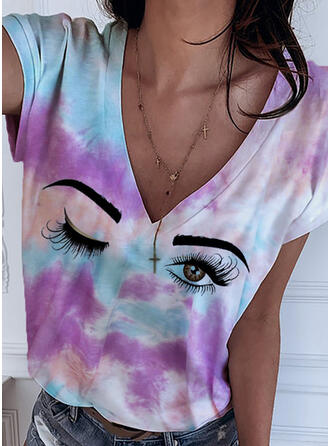 Print Tie Dye V-Neck Short Sleeves Casual T-shirts