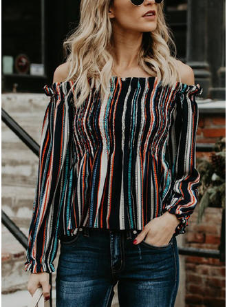 Polyester Off the Shoulder Striped Long Sleeves Casual Blouses