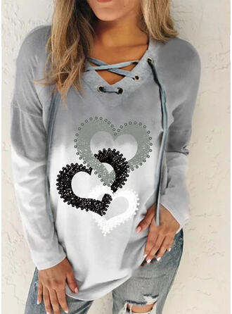 Print Gradient Heart V-Neck Long Sleeves Sweatshirt