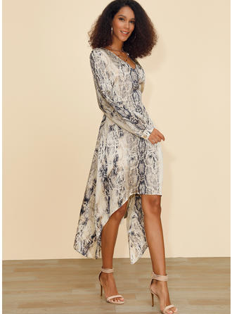 Animal Print Long Sleeves A-line Asymmetrical Casual Dresses