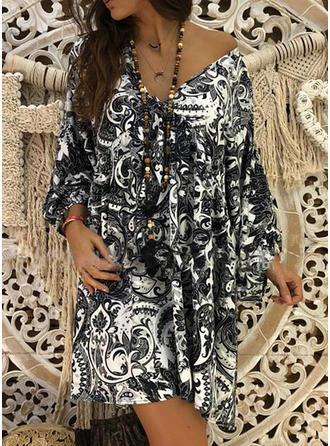 Print Long Sleeves Shift Above Knee Boho Dresses