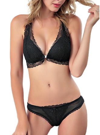 Nylon Chinlon Lace Plain Lingerie Set