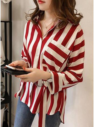 Combinação de algodão Gola De Dobra Listra Manga comprida Blusas de botão