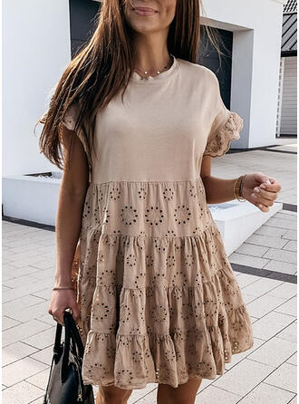 Solid Short Sleeves Shift Above Knee Casual/Elegant Dresses