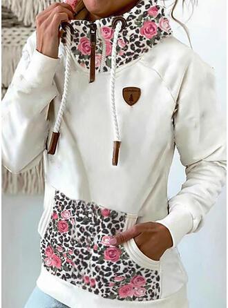 Print Blomster Leopard Lommer Lange ærmer Hoodie