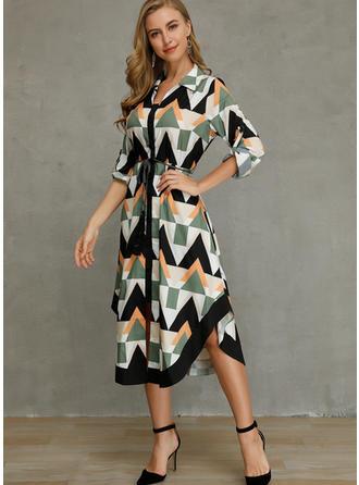 Geometric Print 3/4 Sleeves A-line Asymmetrical Casual Dresses