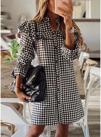 チェック 長袖 シフトドレス 膝上 カジュアル シャツ ドレス (199341732)