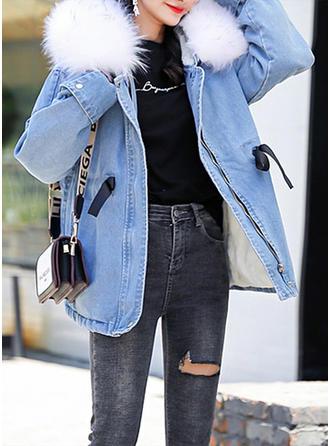Bawełna Długie rękawy Jednolity kolor Jeans Płaszcze