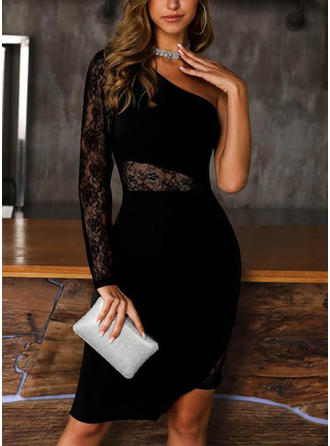 Lace/Solid Long Sleeves Bodycon Knee Length Little Black/Party/Elegant Dresses