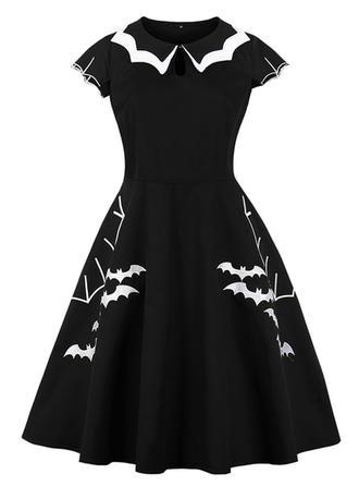 Print Round Neck Knee Length A-line Dress
