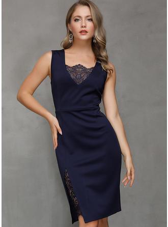 Lace/Solid Sleeveless Sheath Knee Length Elegant Dresses