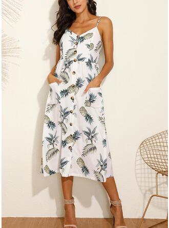 Print Sleeveless A-line Slip/Skater Casual/Vacation Midi Dresses