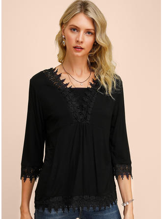 Solid Lace Square Collar 3/4 Sleeves Casual Blouses
