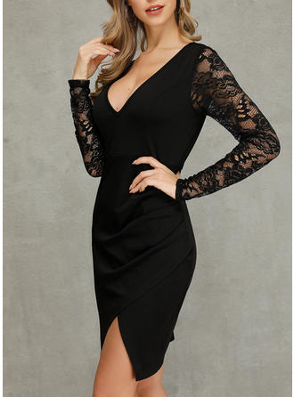 Lace/Solid Long Sleeves Sheath Above Knee Little Black/Casual/Party Dresses
