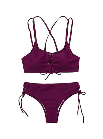 Solid Color U Neck Sexy Bikinis Swimsuits