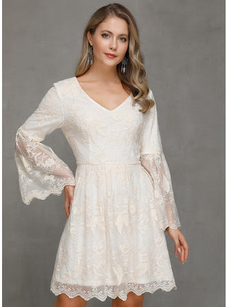 Lace/Solid 1/2 Sleeves/Long Sleeves/Flare Sleeves A-line Above Knee Casual/Party Dresses
