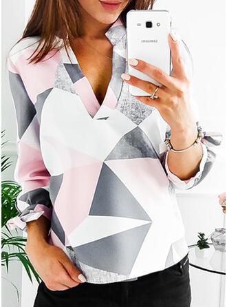 Geometric Print V-Neck Long Sleeves Casual Blouses