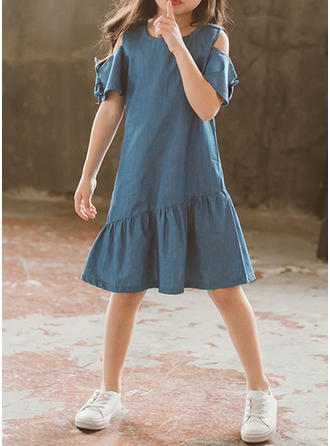 Dziewczyny Okrągły Dekolt Solidny Żabot Nieformalny Ładny Sukienka