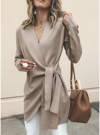 Solid Plain V-Neck Cardigan