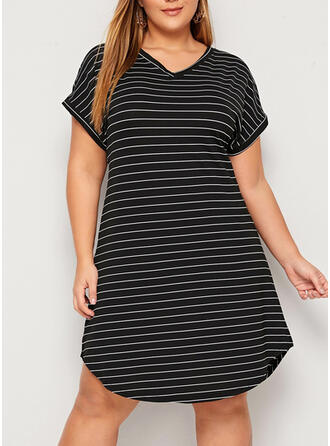 Striped Short Sleeves Shift Knee Length Casual/Plus Size Dresses