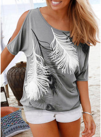 Cotton Cold Shoulder Print 1/2 Sleeves Casual Blouses