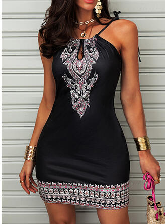 Print Sleeveless Bodycon Above Knee Casual/Boho/Vacation Slip Dresses