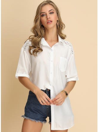 Solid Lapel 1/2 Sleeves Button Up Casual Elegant Shirt Blouses
