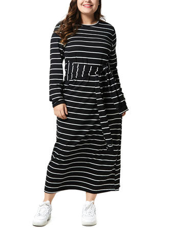 Striped Long Sleeves Shift Maxi Casual Dresses