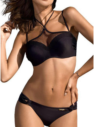 Solid Color Low Waist Halter Sexy Elegant Fashionable Bikinis Swimsuits