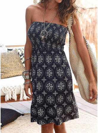 Print Sleeveless Sheath Knee Length Sexy/Casual/Boho/Vacation Dresses