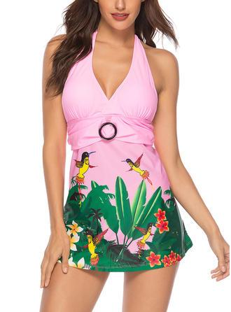 Kwiatowy Wiązany na szyi Elegancki Kąpielówki Stroje kąpielowe