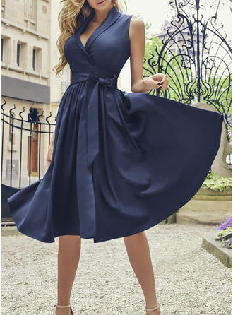 Solid Sleeveless A-line Knee Length Party/Elegant Dresses