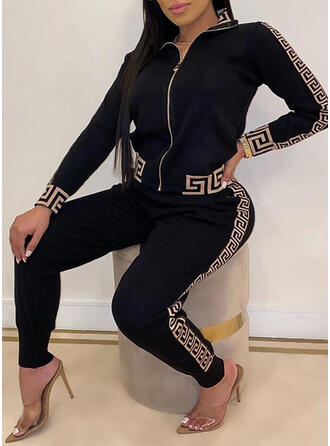Print Casual Plus Size Blouse & Two-Piece Outfits Set