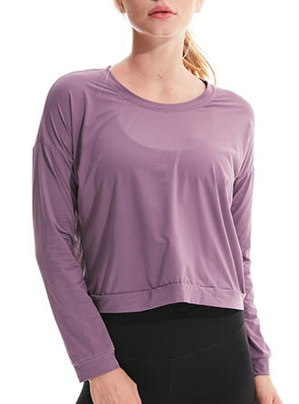 Round Neck Long Sleeves Solid Color Sports Tees