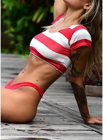 Splice color U Neck Classic Bikinis Swimsuits