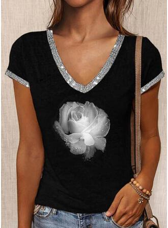 Fleurie Imprimé Paillettes Col V Manches Courtes T-shirts