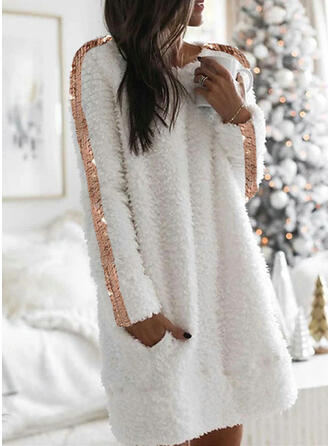 Sequins Long Sleeves Shift Above Knee Casual Tunic Dresses