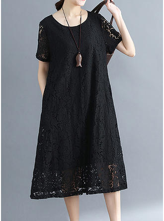 Lace/Solid Short Sleeves Shift Midi Little Black/Casual Dresses