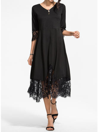 Lace/Solid 3/4 Sleeves A-line Midi Vintage/Little Black/Casual/Party/Elegant Dresses