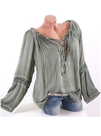 Solid Patchwork Off the Shoulder Flare Sleeve Long Sleeves Casual Blouses