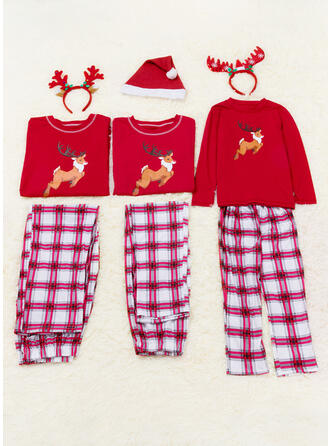 Rensdyr Plaid Print Familie Matchende Jul Pyjamas