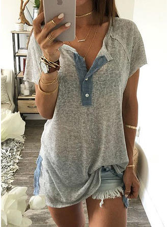 Solid V Neck Short Sleeves Button Up Casual Blouses
