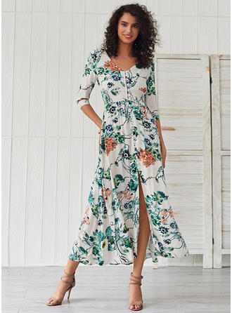 Print/Floral 3/4 Sleeves A-line Midi Casual/Vacation Dresses