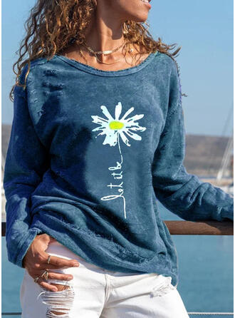 Print Floral Figure Round Neck Long Sleeves Casual T-shirts