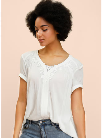 Solid Lace V Neck 1/2 Sleeves Casual Blouses