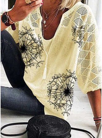 Print Dandelion V-Neck 3/4 Sleeves Casual Blouses