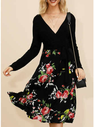 Print/Floral Long Sleeves A-line Knee Length Casual/Elegant Dresses