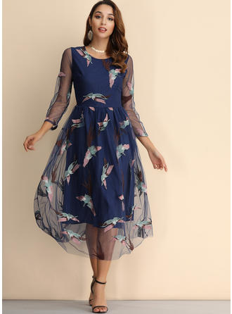 Embroidery 3/4 Sleeves A-line Midi Casual/Elegant Dresses