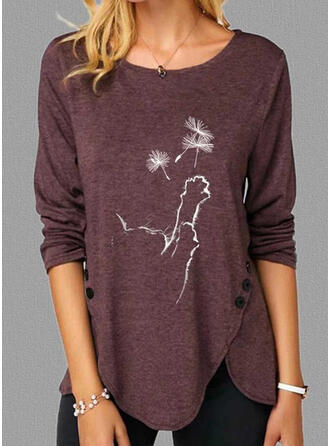 Animal Print Dandelion Round Neck Long Sleeves Casual Blouses