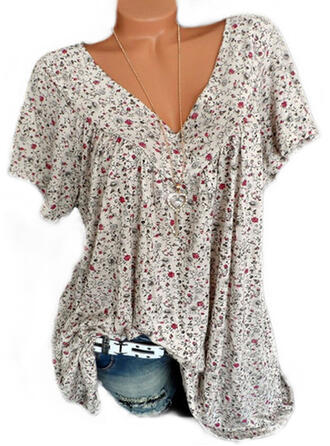 Floral V-Neck Short Sleeves Casual Elegant T-shirts
